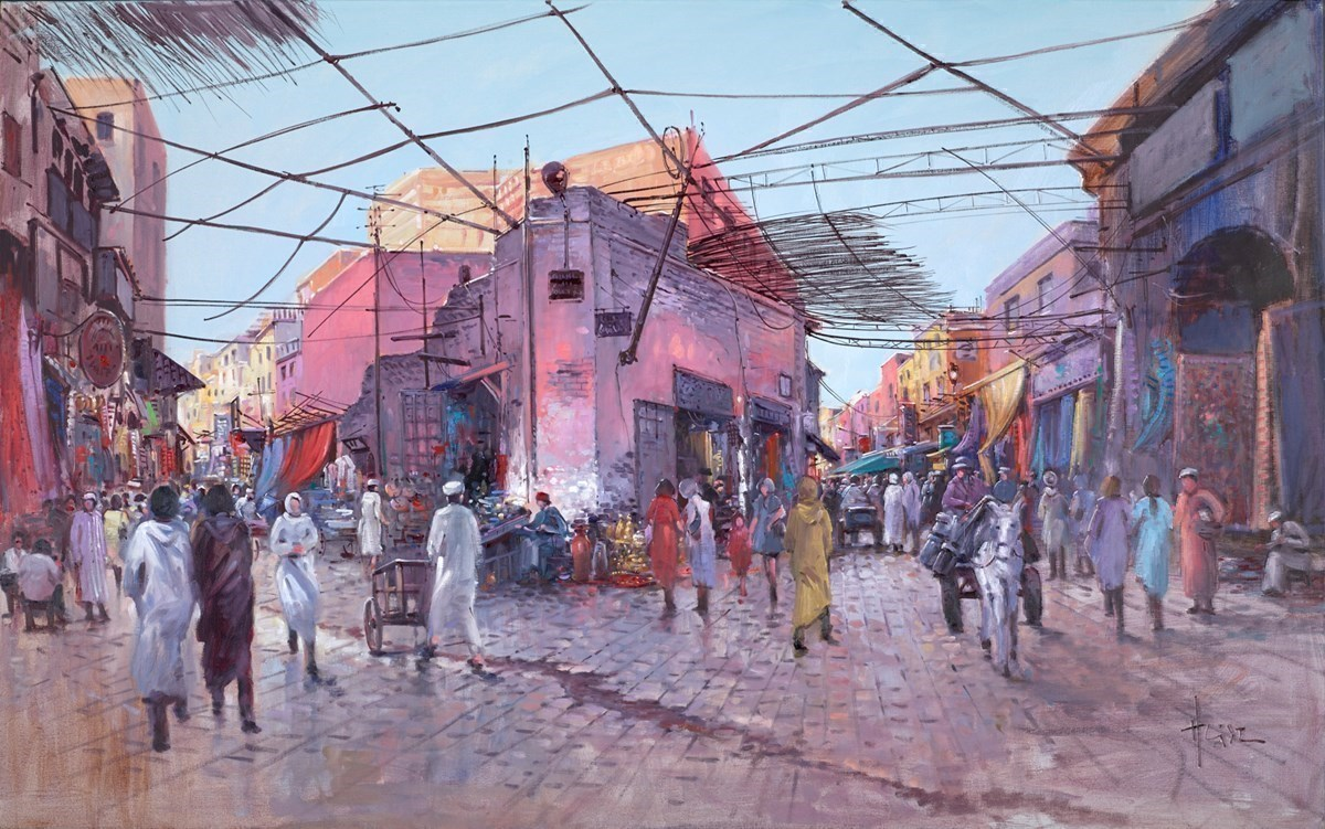 Busy Market Square by Henderson Cisz -  sized 48x30 inches. Available from Whitewall Galleries